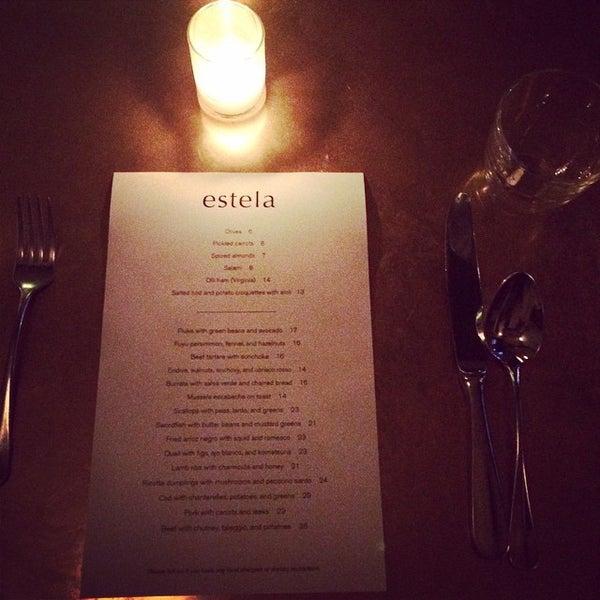 Photo taken at Estela by Restaurant Fairy on 10/30/2014
