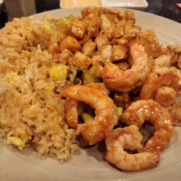 Chicken and Shrimp was delicious. I'll never go again for dinner. The Hibachi table was too cramped. The corner place settings should be eliminated to have more room to enjoy the good food.