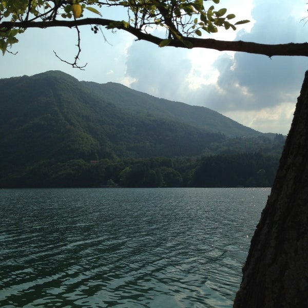 Photo taken at Lago di Suviana by Blob DX7 V. on 7/21/2013