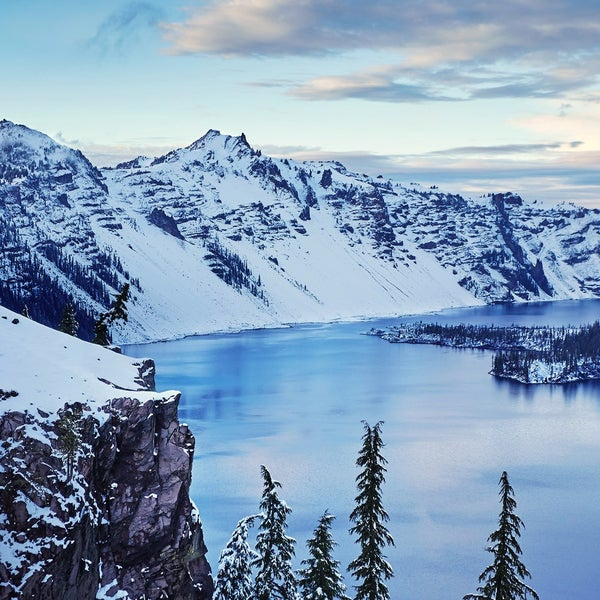 At 1,943 feet, Crater Lake is the deepest lake in the U.S., and one of its most stunning. There are no streams or rivers feeding it—the lake is the product of pure glacial runoff and precipitation.