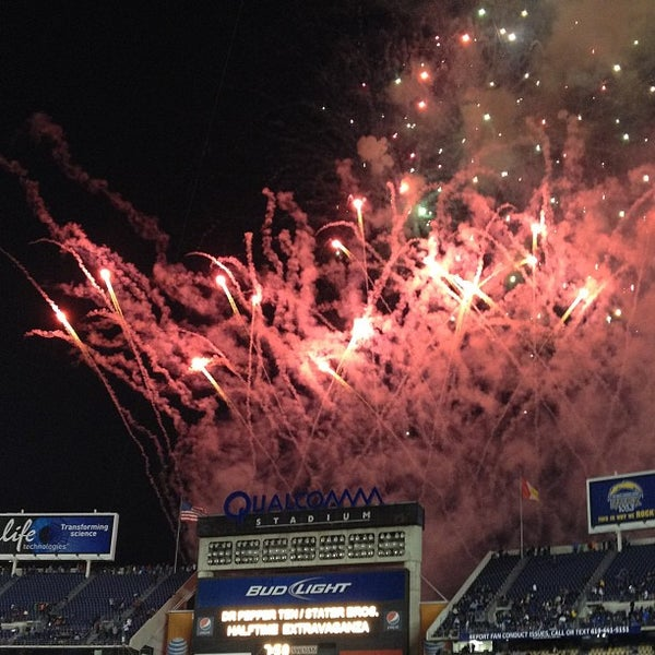 Photo taken at Qualcomm Stadium by angela l. on 1/5/2013