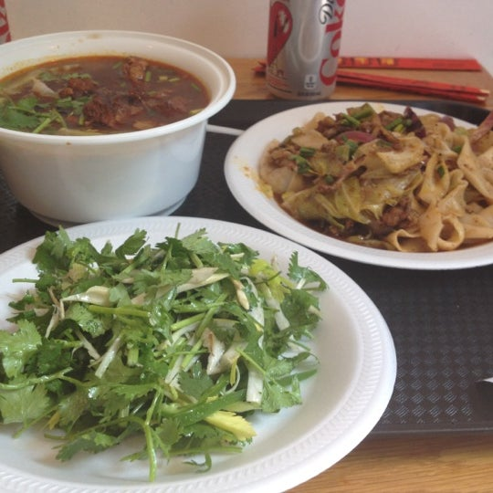 Photo taken at Xi'an Famous Foods by Annaliese R. on 4/21/2012