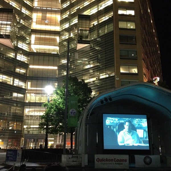 Photo taken at Campus Martius Park by Mike F. on 8/18/2012