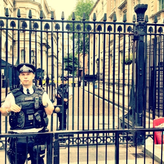 Photo taken at 10 Downing St. by Tania B. on 7/9/2012