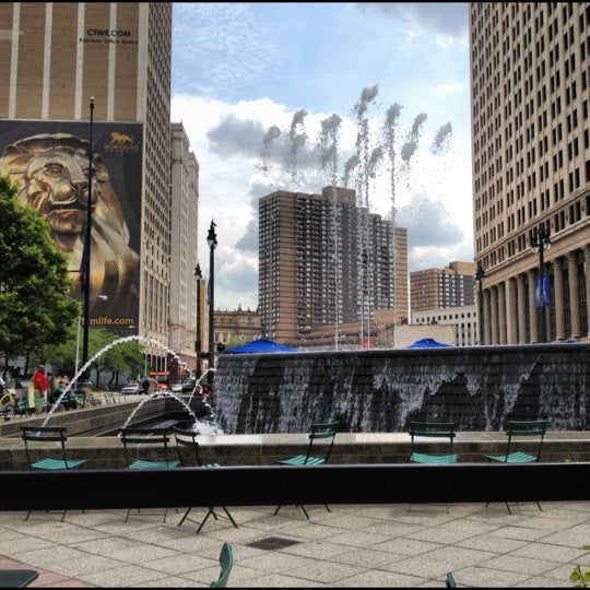 Photo taken at Campus Martius Park by Gayle J. on 8/13/2012