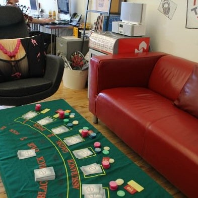 A blackjack table and a... female pillow