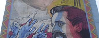 """Rafał Roskowiński, 1999, """"Papież i Wałęsa"""" is one of Murale Gdańsk Zaspa."""