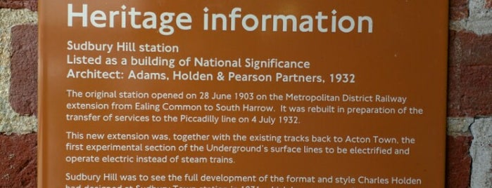Sudbury Hill London Underground Station is one of Tube Challenge.
