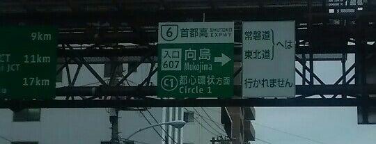 首都高 向島出入口 (606/607) is one of 首都高6号向島線・三郷線.